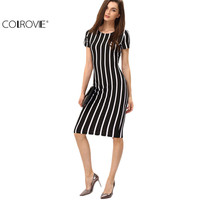COLROVIE Women Vertical Striped Fitness Dresses Work Summer Style Sexy 2016 New Short Sleeve Sheath Office