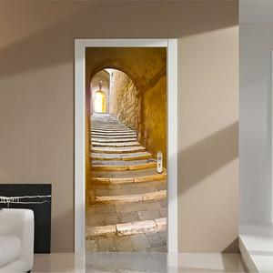 Настенный 3d-стикер для дверей, домашний декор, креативные виниловые обои для росписи, водостойкие наклейки для дверей в европейском стиле