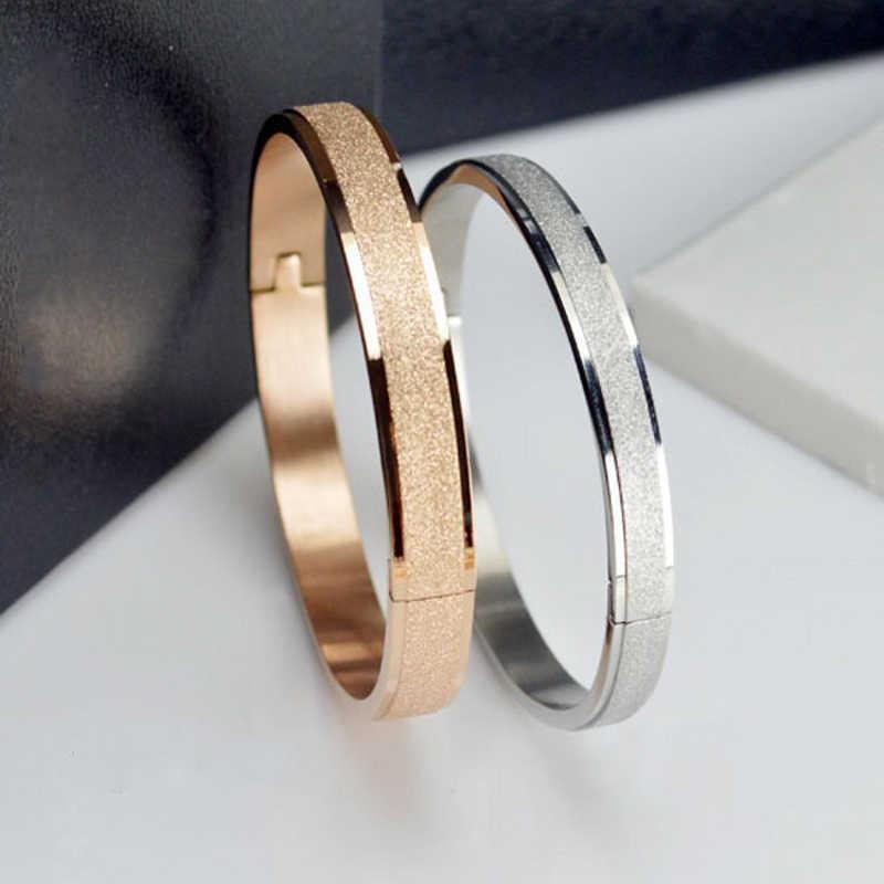 Proste różowe złoto moda Punk luksusowe bransoletki miłości bransoletki Grind Arenaceous Frosted bransoletki dla kobiet mężczyzn para fajna biżuteria