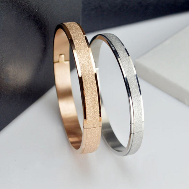 Simple Rose Gold Fashion Punk Luxury Love Bracelets Bangles Grind Arenaceous Frosted Bracelets For Women Men Couple Cool Jewelry