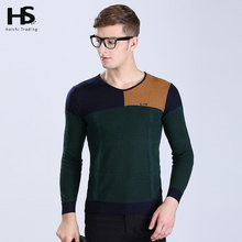 2016 New Spring Autumn Patchwork Hit Color Sweater Men V Neck Shirt Brand Clothing Cashmere Wool Pullover Mens Sweaters OEM 6609