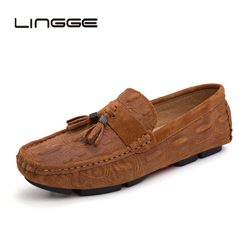 LINGGE Leather Men Loafers Men Tassel Slip on Moccasins Crocodile Style Slip on Flats Drop Shipping Lazy Driving Shoes