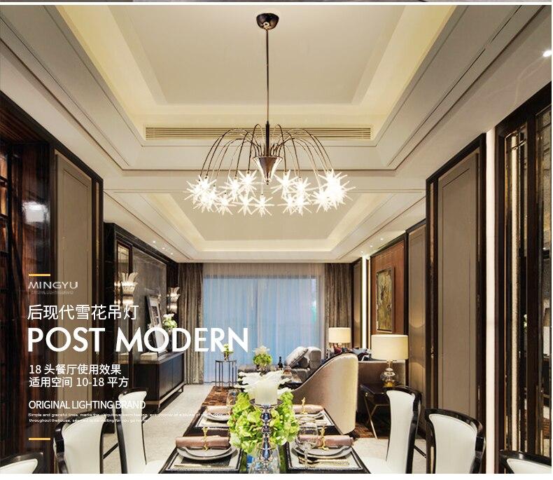 Moderne Kroonluchters Lamp Glas Sterren Schorsing Kerst Sneeuw Licht Hotel Restaurant Eetkamer Woonkamer Verlichting - 5