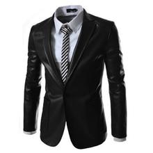 2017 mode Neuen stil mode herren lederjacke Mantel marke leder blazer männer slim fit anzug jacke Outwear