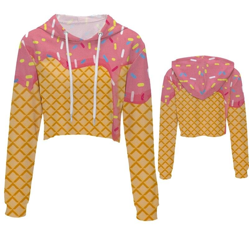 Fashion Casual Loose Hoodie Long Sleeve Woman Crop Top Creative Food pictures 3D Printing Sweatshirts Hoodie Wholesale Price
