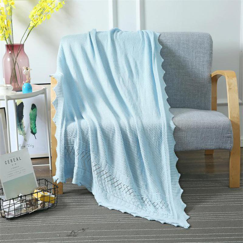 Spring Home Solid Sweet Sleeping Cotton Soft Knit Blanket Comfortable Fashion Adult Tassel Breathable Air Conditioned Blankets