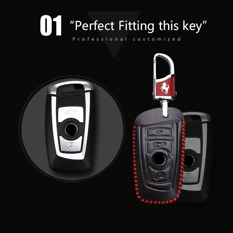 2018 Nuevo Genuine Leather Car Key Case cubierta para BMW 520 525 F30 - Accesorios de interior de coche - foto 3