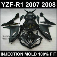 ABS motorcycle injection mold fairings kit for YAMAHA 2007 2008 R1 YZF R1 07 08 matte glossy black fairing parts+tank cover