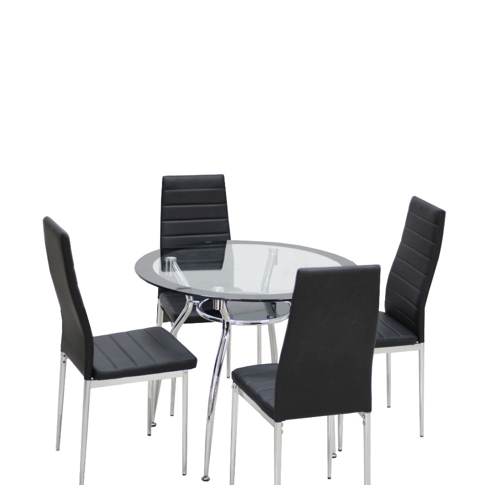 5 Piece / Set High Quality Glass 4 Feet Dinning Metal Table Set With  Leather Chairs Simple Mordern Dinner Table Furniture Set In Dining Room  Sets From ...