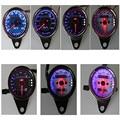Universal Motorcycle Odometer Speedometer Gauge Meter LED Backlight Black Electroplate Km/h