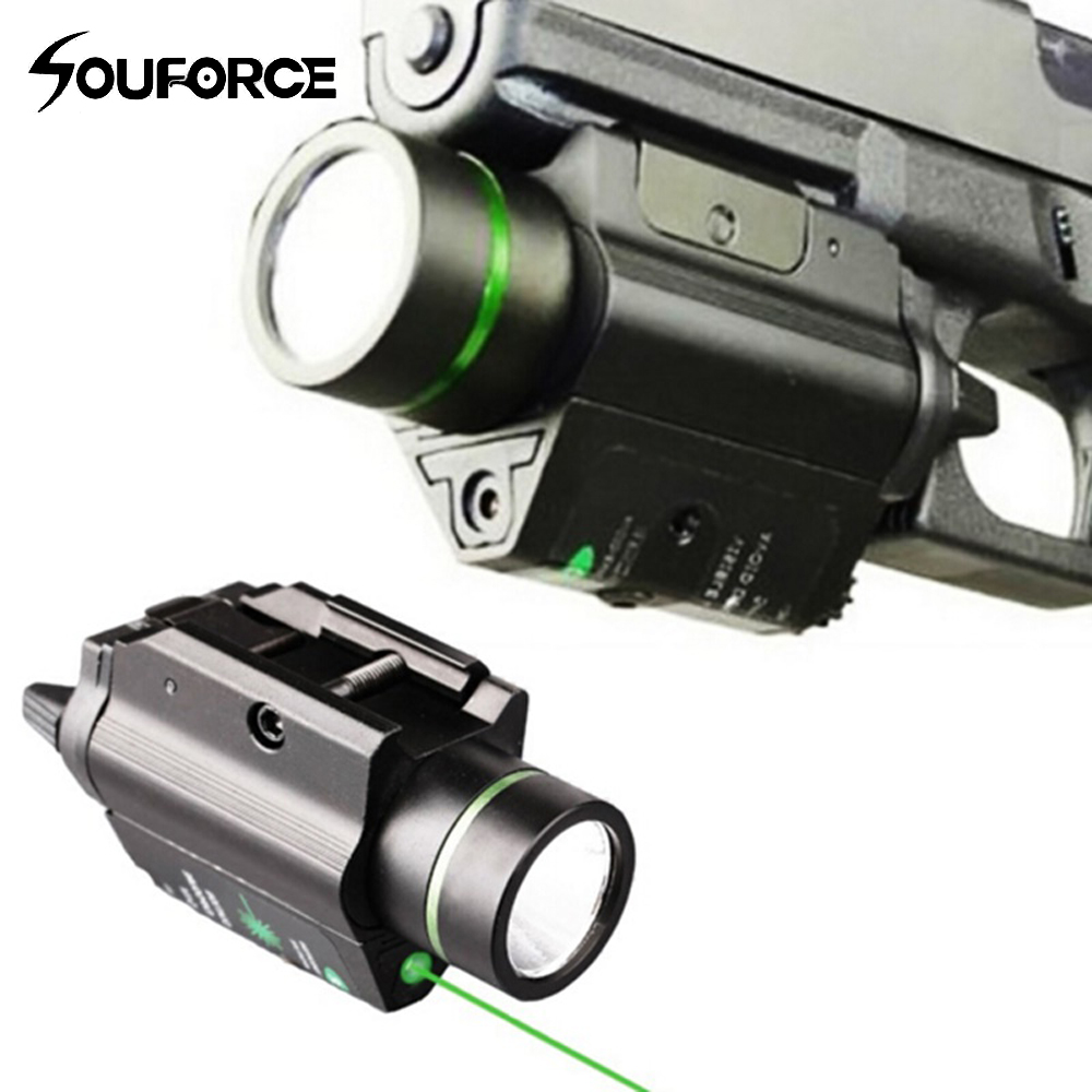 Tactical Flashlight Green Laser Sight LED Light Combo Mount Ultra Bright 225 lumen For weaver picatinny