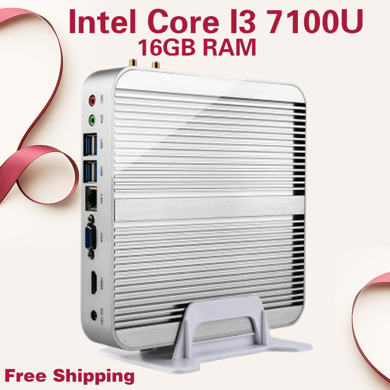 Mini PC Fanless 4K HTPC Fanless computer Intel HD Graphics 620 Top configuration Core i3 7100U