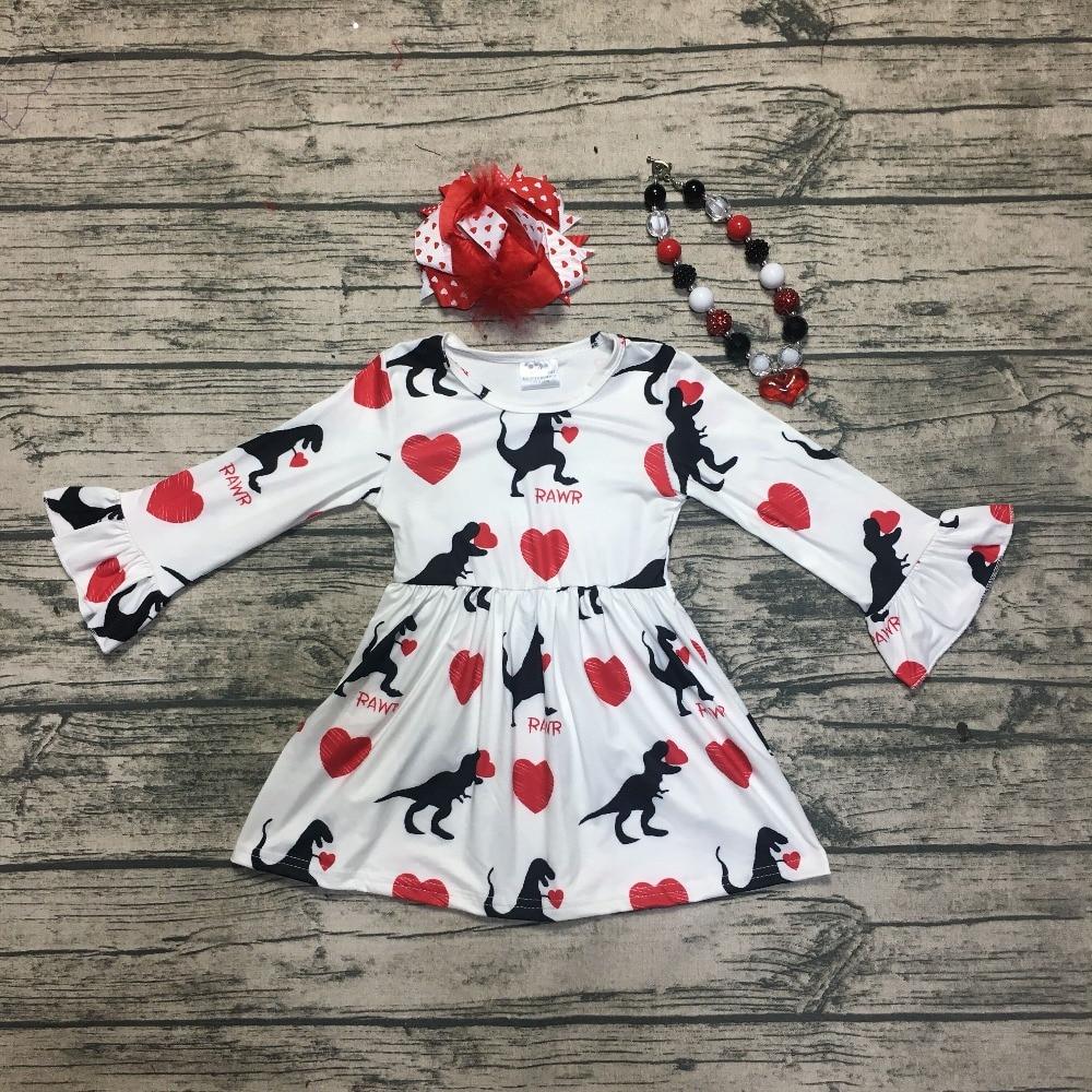 Día de San Valentín bebé niños niñas ropa de algodón ropa de invierno primavera volantes amor corazón vestido de boutique de Encuentro de accesorios