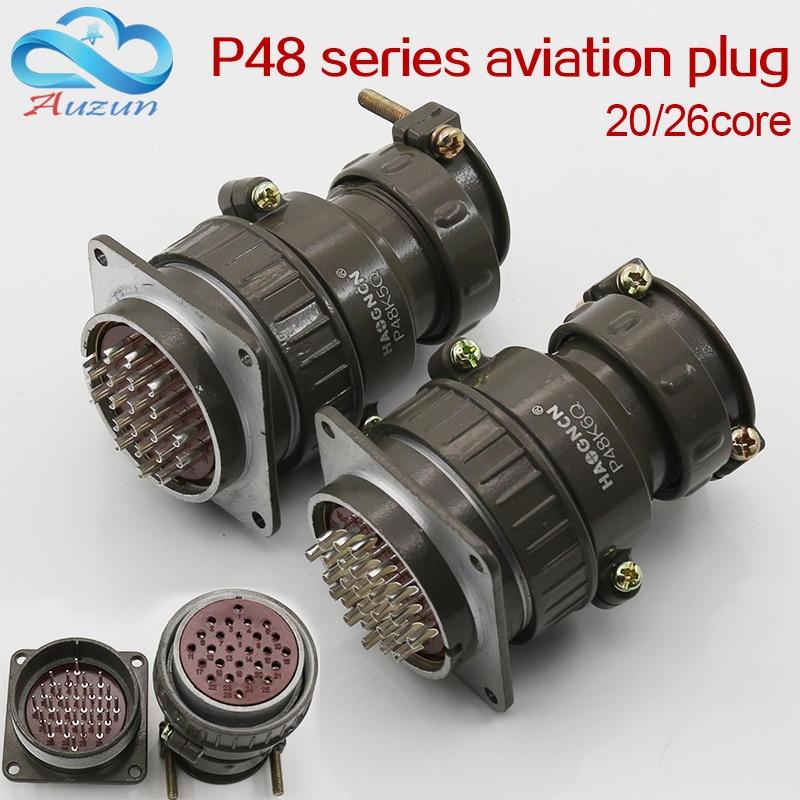Aviation Plug Socket Round Connector P48 Series 20/26core Diameter 48MM