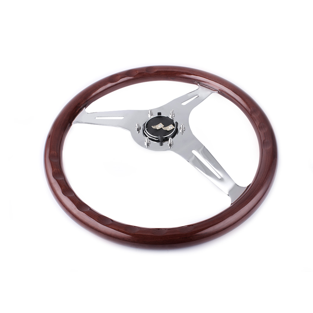 High Quility 15inch 380mm Steering Wheel Classic Sport Wooden Grain Silver Brushed Spoke Chrome Steering Wheel RS STW015 B in Steering Wheels Steering Wheel Hubs from Automobiles Motorcycles