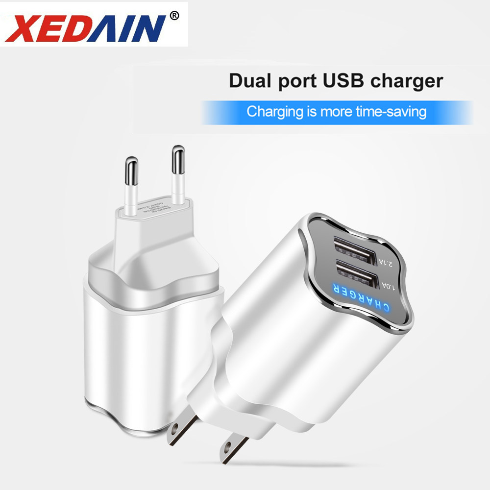Quick Good Charger LED 5V/2.1A  EU/US 2 Ports Plug USB Charger Micro Cable For Samsung Huawei Xiaomi Vivo Android Phone Chargers