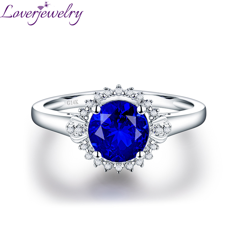 Romantic Real 14K White Gold Natural Tanzanite Ring Charming Diamond Moon Shape Wedding Jewelery Gift for Women Wife charming round shape rhinestone decorated ring for women