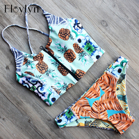 ABOUTTHEFIT Women Pineapple Print Front Zipper Sling Crop Top Corset Style Bikinis Set Sexy Brazilian Swimwear