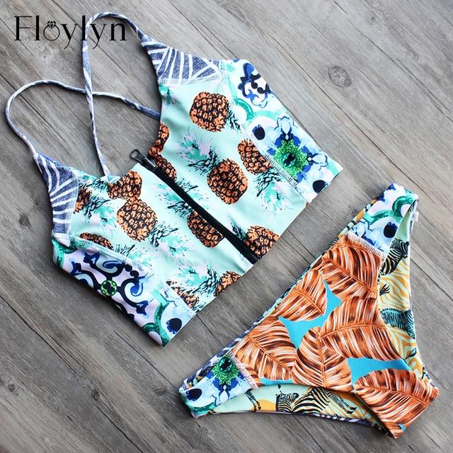 Floylyn Women Pineapple Print Front Zipper Sling Crop Top Corset Style Bikinis Set Sexy Brazilian Swimwear Double Sided
