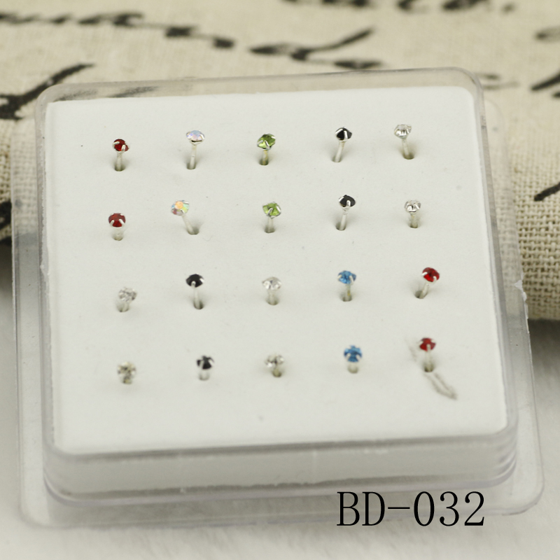20ps 925 Sterling Silver Four Claw Crystal Nose Studs Simple Round Crystal Nail Silver Nose Nose Rings Color Crystal