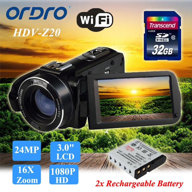 ORDRO Z20 24MP HD 1080P Цифровая видеокамера 3 lcd 16X ZOOM + дополнительная батарея + 32 ГБ sd карта