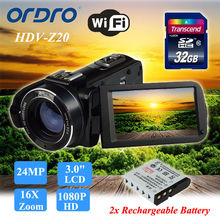 цена на ORDRO Z20 24MP HD 1080P Digital Video Camera DV Camcorder 3 LCD 16X ZOOM+Extra One Battery+32GB SD CARD
