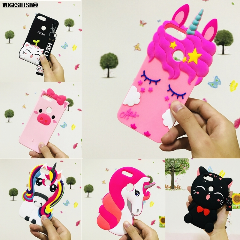 edd4673b853 3D Cartoon Case for Huawei P Smart Unicorn Kitty Cat Pig Soft Silicone Cover  for Huawei