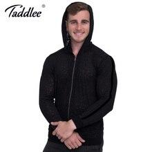Taddlee Brand Men's Hoodie Casual High Stretch Soft Black Hoody Zipper Long sleeved Sweatshirt Clothing Sportswear Jacket Coats
