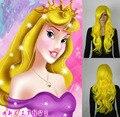 Princesa dormir beleza Longo amarelo encaracolado perucas de cabelo cosplay Frete grátis