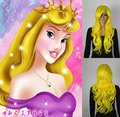 Princess sleeping beauty Long curly yellow hair cosplay wigs Free shipping