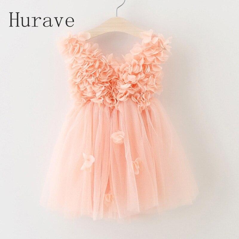 Hurave 2017 summer style lace dress girl tutu vestidos petal fashion kids cotton vest princess robe fille for girl