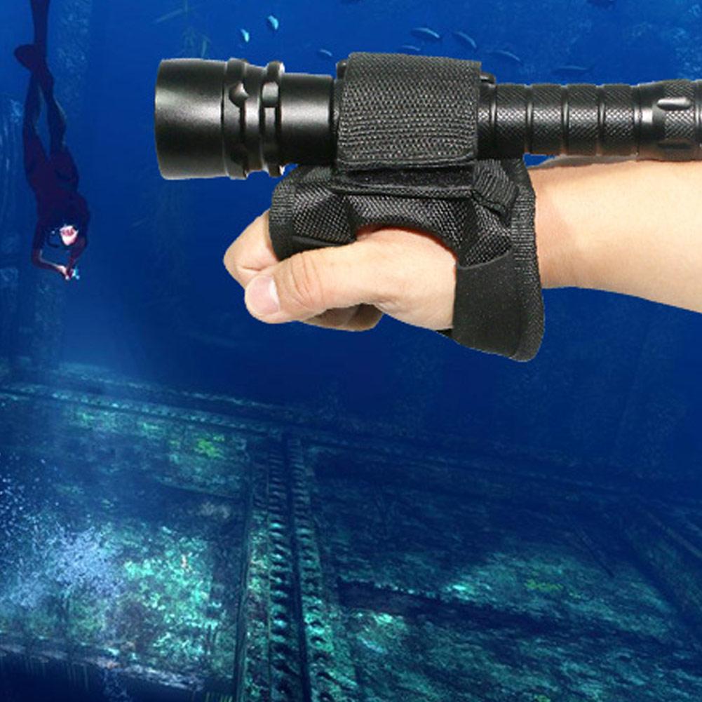 18-38 MM Diving Gloves Underwater Scuba Diving Dive LED Torch Flashlight Holder Soft Black Hand Arm Mount Wrist Strap Glove