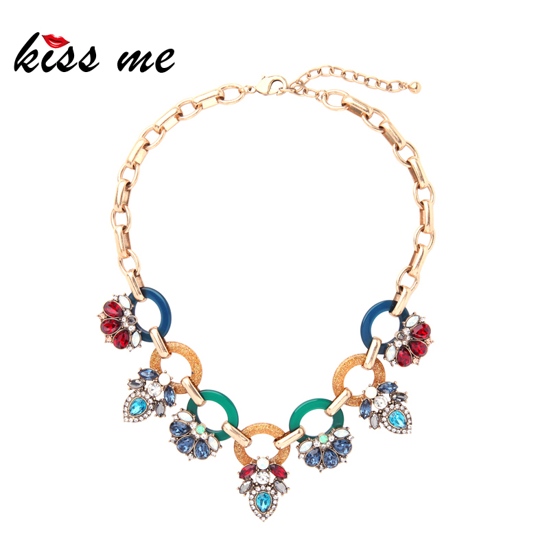 KISS ME Women Statement Necklace 2018 Trendy Multi Color Geometric Glass Crystal Choker Necklaces Wholesale Jewelry charming multilayered geometric choker necklace for women