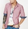 Camisas de los hombres de oxford de manga Tres Cuartos de primavera para hombre camisa de vestir casual camisa masculina sólido 100% algodón marca camisa de los hombres 2016