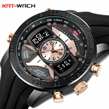 hot deal buy kat-wach men watch big dial analog led digital watches silicone men clock military sport waterproof wristwatch relogio masculino