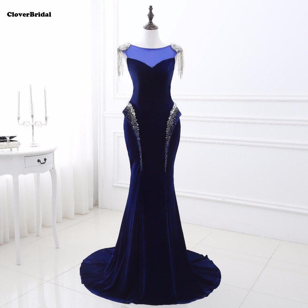 Actual photos cristais azul real sereia vestido de festa longo de luxo 2017 with crystals shoulder chain royal mermaid gown