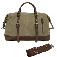 Vintage Canvas Leather Travel Bags Men Military Carry On Luggage Bags Weekend Handbag Overnight