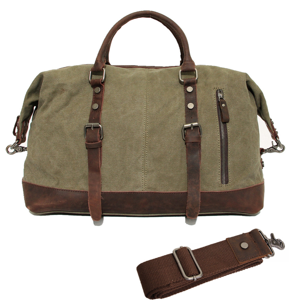 Vintage Canvas Leather Travel Bag Men Military Carry on Luggage Bags Weekend Handbag Overnight Large Duffel Travel Tote mybrandoriginal travel totes wax canvas men travel bag men s large capacity travel bags vintage tote weekend travel bag b102