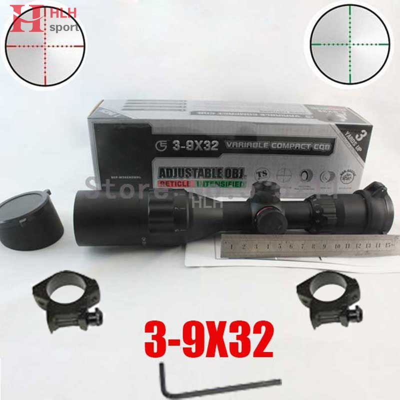 Compact CQB Buster 3-9X32 AOE RGB With Sun Shade Green Red Illuminated Reticel Rifle Scope Mil-Dot Tactical Optics Scope leapers utg 3 9x32 aolmq compact mil dot reticle hunting optics riflescopes locking w sun shade