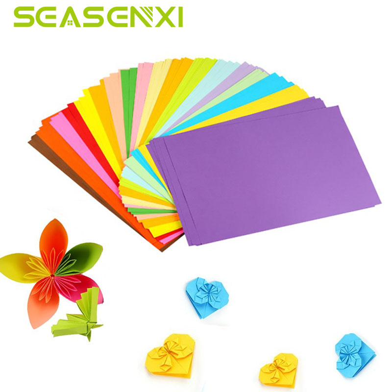 50/100Pcs/lot Colorful Craft DIY Paper Rectangle Handmade Art Decorative Tools Papers Bo ...