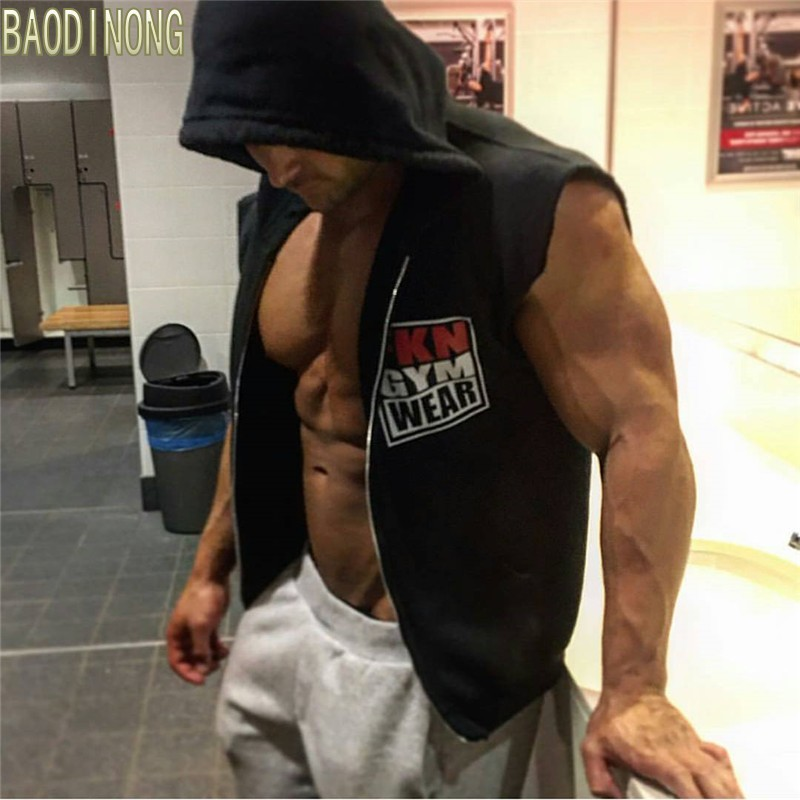Men's sleeveless Hoodies fitness fashion Casual jacket Hooded Sweatshirts Bodybuilding Brand sportswear clothing
