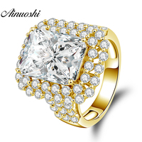 AINUOSHI 14K Solid Yellow Gold Crown Ring 4.5ct Pear Cut Big Sona Diamond Wedding Engagement Jewelry 14K Gold Ring for Women