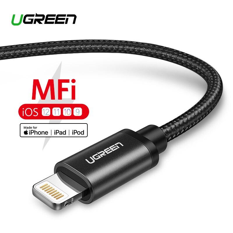 Ugreen MFi Cable USB para iPhone Xs Max 7 más 2.4A Cable de carga rápido del relámpago para el iPhone 6 datos USB cable del Cable