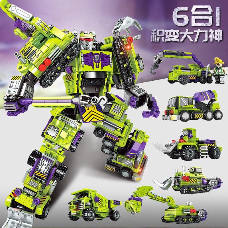 Transformers Decepticons Devastator Building Blocks Bricks toys Robot Hero 6 in1