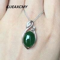 KJJEAXCMY butik takı, Kadın Jasper Kolye doğal Hetian jade s925 gümüş takı kakma ıspanak, Yeşil Kolye