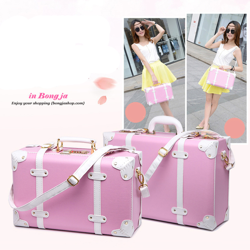 LeTrend Retro Rolling Luggage Women Password Travel Bag Korean version Cute Trolley Suitcase Wheels Vintage Cabin