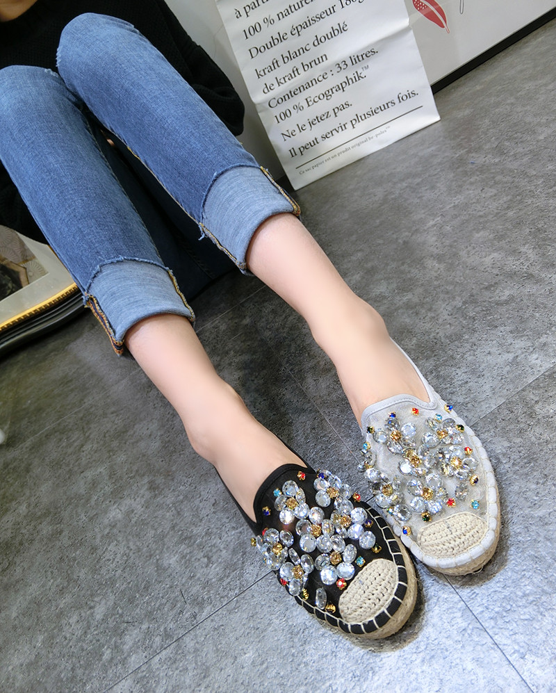 Kvinnor Casual Shoes Mode Rhinestone Women Shoes Mjuk Slip On Loafers - Damskor - Foto 5