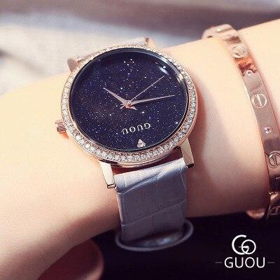 HK Brand GUOU Women Watch European style big dial Quartz Watches Classic Diamond Dress Ladies Leather Watch Kobiet zegarka