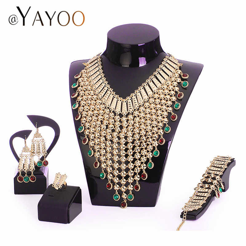 AYAYOO Nigerian Wedding African Beads Jewelry Set Imitation Crystal Women Jewelry Sets Dubai Gold Luxury Bridal Jewelry Set
