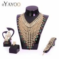 AYAYOO нигерийские Свадебные африканские бусы ювелирный набор имитация кристалла женский Комплект украшений из Дубая золотые роскошные свад...